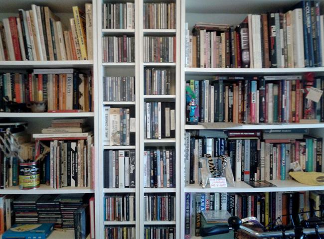 Muitos livros sobre roteiro, psicologia, culinária e New York.